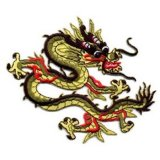 "Applique - Chinese Dragon - 3"" x 3.25"" wide, iron-on"