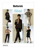 B6426 Misses'/Miss Petite Shawl Collar Jacket, Princess-Seam Top, Tunic, and Dress, and Pants