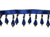 "Trim - Beaded Fringe Sapphire 1"" Crystal Drop"