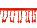 "Trim - Beaded Fringe Red 2"" Crystal Drop"