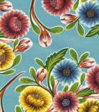 Oilcloth - Bloom Light Blue Tablecloth Vinyl