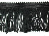 Wholesale Rayon Chainette Fringe - Black #2 -  15 inch  - 18 yards