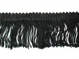 Wholesale Rayon Chainette Fringe - Black #2 - 4 inch  -  36 yards