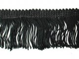 Wholesale Rayon Chainette Fringe - Black #2, 6 inch  -  18 yards