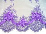Double Border Rosette Netting - Corded Ribbon Tulle Fabric - Lilac