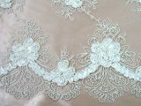 Double Border Rosette Netting - Corded Ribbon Tulle Fabric - White