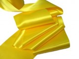 "Wholesale Double Faced Satin Ribbon - 3.75"" Yellow #81 - 27.5 yards"