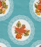 Oilcloth - Doiley with Fruit Light Blue