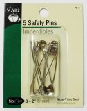 "Dritz #72-3 - 5 Safety Pins 2"", Size 3"