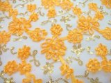 Envy Sequin Netting - Ribbon Embroidered Sequin Tulle Fabric - Pencil Yellow