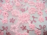 Envy Sequin Netting - Ribbon Embroidered Sequin Tulle Fabric - Pink