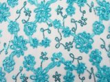 Envy Sequin Netting - Ribbon Embroidered Sequin Tulle Fabric - Turquoise