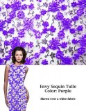 Envy Sequin Netting - Ribbon Embroidered Sequin Tulle Fabric - Purple