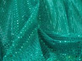Wholesale Faux Sequin Knit Fabric - Teal  25 yards