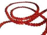 Wholesale Flat Slung Sequins Trim 6mm - Spot Red - 72 yards