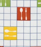 Wholesale Oilcloth - Forks Multi on White - 12 yds