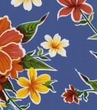 Wholesale Oilcloth - Hibiscus Blue - 12 yds