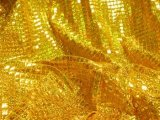 Faux Sequin Knit - Hologram Squares - Gold