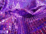 Wholesale Faux Sequin Knit - Hologram Squares - Purple  25 yards