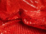 Wholesale Faux Sequin Knit - Hologram Squares - Red  25 yards