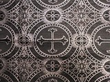Wholesale Metallic Church Brocade - Black- Silver 25 yards ***Temporarily out of stock***