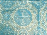 Sale Metallic Church Brocade Sky Blue-Gold