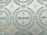 Metallic Church Brocade White-Dark Green-Gold