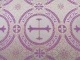 Metallic Church Brocade #7258 White-Purple-Gold