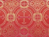 Wholesale Metallic Church Brocade #7258 - Red-Gold-Red  25 yards