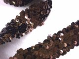 Stretch Sequins Trim- Metallic Brown 1.5""