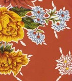 Oilcloth - Mums Red