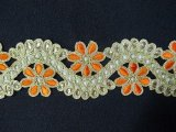 Sofia Metallic Beaded Trim - N22222 Orange-Gold - 2 inches wide