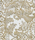 Oilcloth - Paradise Lace Gold on White
