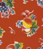 Oilcloth - Pears and Apples Red