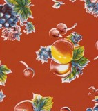 Wholesale Oilcloth - Pears and Apples Red   12yds