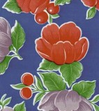 Wholesale Oilcloth - Poppy - Blue - 12yds