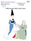 Reconstructing History Pattern #RH007 - 1440s through 1480s Lady's V-neck Gown
