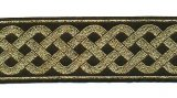 Celtic Knot Jacquard Trim - Black with Metallic Gold, 2""