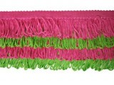 Rainbow Fringe - #I - Lime - Hot Pink  -  3.5""