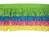 Rainbow Fringe - #L  - Lime - Turquoise - Hot Pink - Yellow   -   3.5""