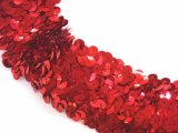 Stretch Sequins Trim- Red 1.5""