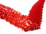 Stretch Sequins Trim- Red 2""