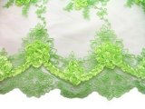 Double Border Rosette Netting - Corded Ribbon Tulle Fabric - Lime