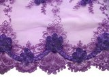 Double Border Rosette Netting - Corded Ribbon Tulle Fabric - Purple