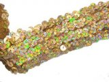 Stretch Sequins Trim- Spot Gold 1.5""