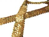 Stretch Sequins Trim- Gold 1.5""