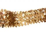Stretch Sequins Trim- Gold 2""