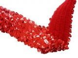 "Wholesale Stretch Sequin Trim - Red 2"" - 36 yard"
