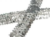 Stretch Sequins Trim- Silver 1.5""