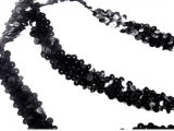 Stretch Sequins Trim- Black 3/4""